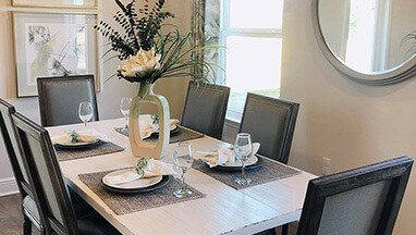 Dining room with six seat table and chairs thumbnail image